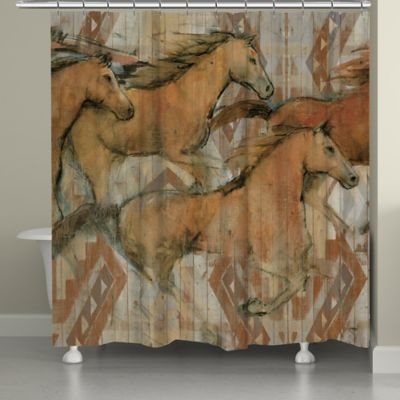 Laural Home Southwestern Horses Shower Curtain Bed Bath