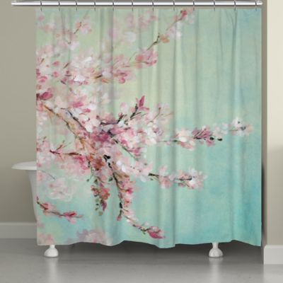 Laural Home Cherry Blossoms Shower Curtain In BluePink Bed Bath Amp Beyond