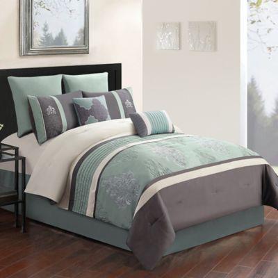 Montclair 8 Piece Comforter Set In GreyBlue Bed Bath