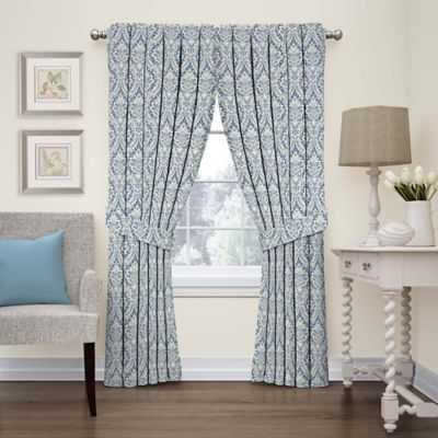 Waverly Donnington Damask Window Panel And Valance Bed