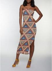 Geometric Print Tube Maxi Dress in Rust Size: Medium