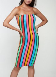 Striped Pattern Tube Dress in Blue Size: Medium