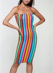 Striped Pattern Tube Dress in Blue Size: Medium