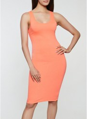 Solid Tank Dress in Coral Size: Medium