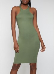 Racerback Tank Dress in Olive Size: Medium