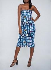 Geometric Tube Dress in Blue Size: Medium