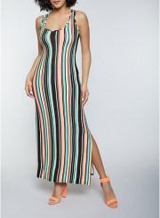 Striped Racerback Maxi Dress Size: Medium