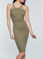 Keyhole Bodycon Dress in Olive Size: Medium