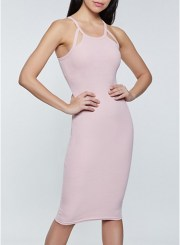 Keyhole Bodycon Dress in Mauve Size: Medium