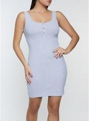 Henley Tank Dress in Heather Size: Medium