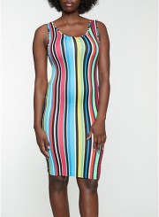Striped Tank Bodycon Dress Size: Medium