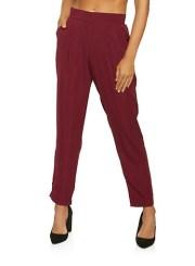 Pintuck Dress Pants in Burgundy Size: Medium