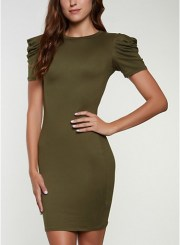 Solid Puff Sleeve Bodycon Dress in Olive Size: Medium