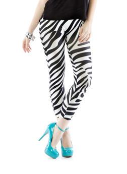 Zebra Seamless Leggings,BLACK/WHITE,medium