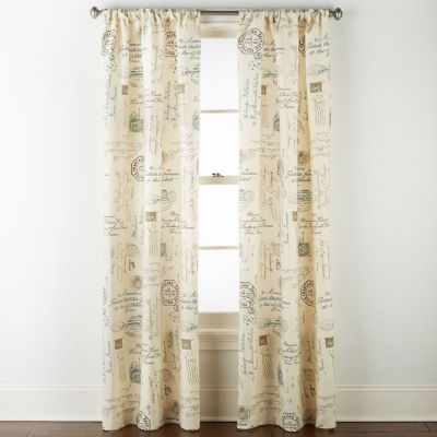 home expressions script light filtering rod pocket curtain panel