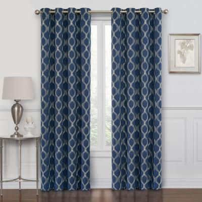 maxx blackout prescott embroidered 100 blackout grommet top single curtain panel