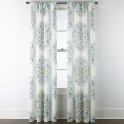 home expressions pippa aqua floral light filtering rod pocket set of 2 curtain panel