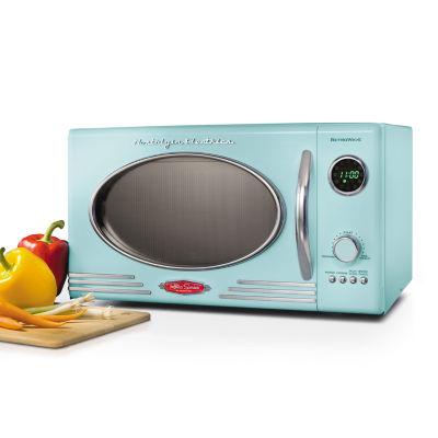 nostalgia rmo4aq retro 0 9 cubic foot microwave oven