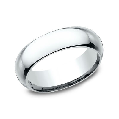 Mens 14K White Gold 6MM High Dome Comfort Fit Wedding Band