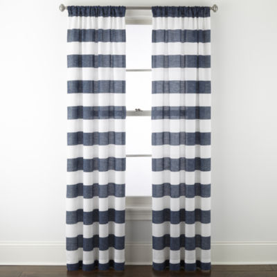 home expressions kendra navy stripe light filtering rod pocket set of 2 curtain panel
