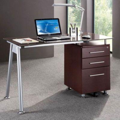 Techni Mobili Glass Computer Desk WFile Cabinet