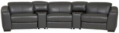 ferrari leather 5 piece power reclining home theater sectional magnet