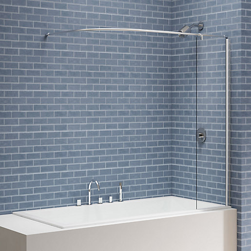 nexa by merlyn 6mm square bath screen with curtain rail panel 1500 x 300mm