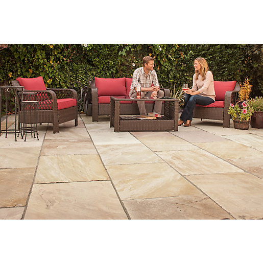 marshalls indian sandstone riven brown paving slab mixed size 15 23 m2 pack