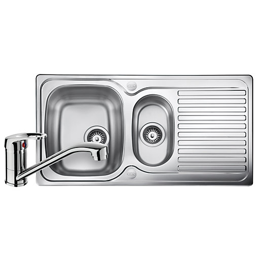 leisure linear 1 5 bowl reversible stainless steel kitchen sink and single lever tap pack