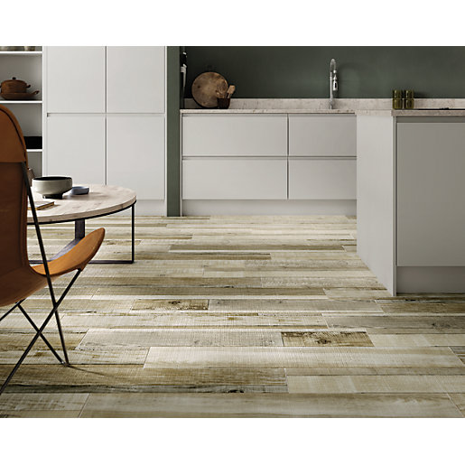wickes boutique kauri natural glazed porcelain wood effect wall floor tile 1140 x 200mm