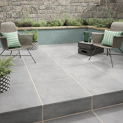wickes croyde grey indoor outdoor porcelain floor tile 610 x 610mm