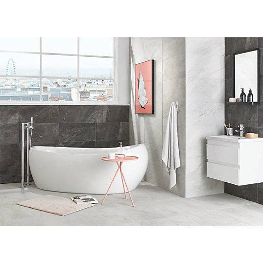 wickes amaro charcoal porcelain wall floor tile 615 x 308mm