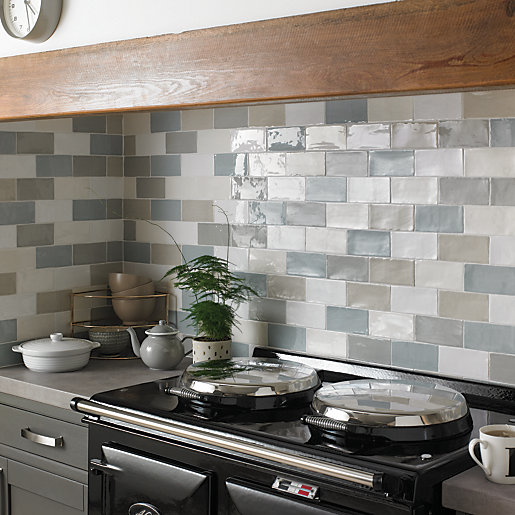 wickes farmhouse willow ceramic wall tile 150 x 75mm