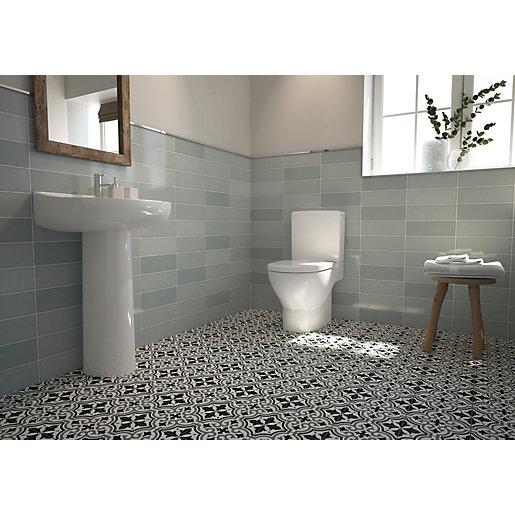 wickes soho green ceramic wall tile 300 x 100mm