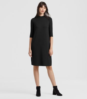 Dresses   Skirts for Women and Midi Dresses   EILEEN FISHER QUICK VIEW  BLACK  Lightweight Viscose Jersey Mock Neck Dress