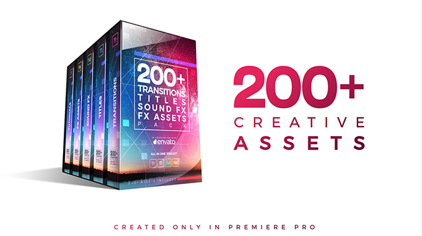 VIDEOHIVE 200+ PACK: TRANSITIONS, TITLES, SOUND FX