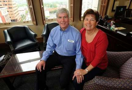 Rick and Sue Snyder in his Ann Arbor office