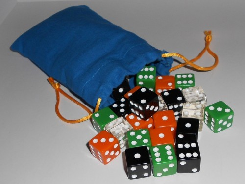 Look at all those dice just spilling out of that bag!