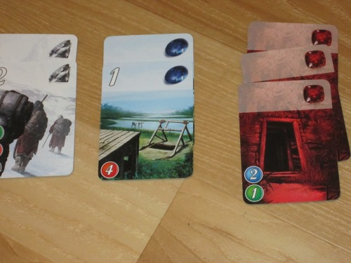 A sample tableau. This player gets a big discount on cards that require rubies!
