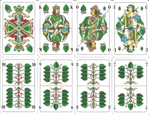 The suit of leaves from a 32-pace German Skat deck, a micro deck to American/French standards. Can play something a little simpler (Schnapsen), more sophisticated (Laus), or really brain-burning (Skat) - variety and value!