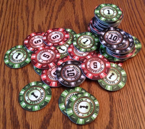 These mock poker chips hit the thematic spot.
