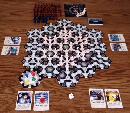 Four-player setup. Alien drills must be like public school tornado drills - everyone to the interior!