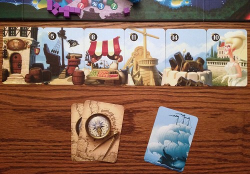 The panorama of your development cards at the start of the game. You need to pay them to flip them over and benefit from their bonuses.
