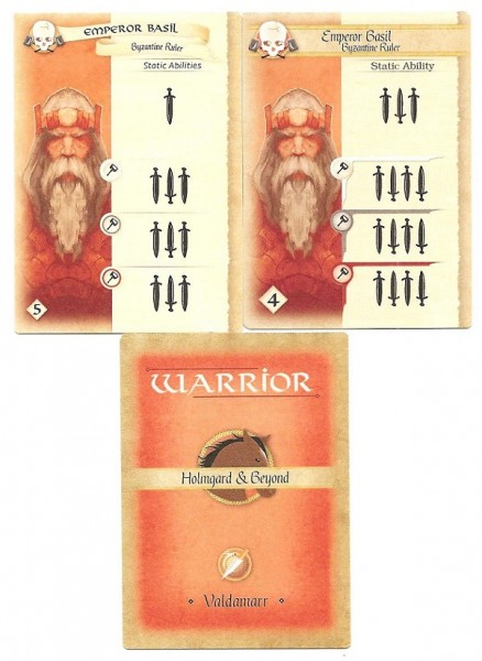 The Caliph has been working out! Old card (left) vs. the new (right).