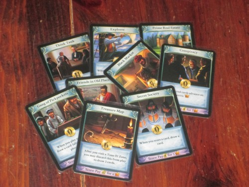 Some more player cards. The blue background ones are worth less when played but have an ongoing effect for the player.