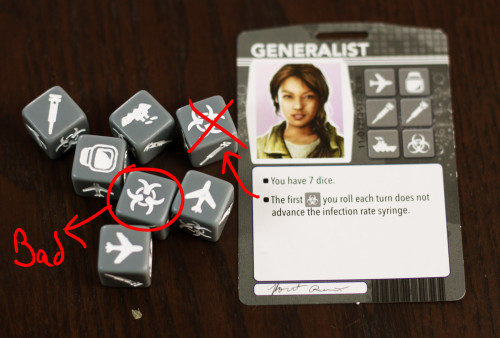 First things first, we roll our dice. We're the generalist, so we get 7 dice.  Unfortunately, our first roll gets us 2 biohazards. We get to ignore the first thanks to our ability, but...