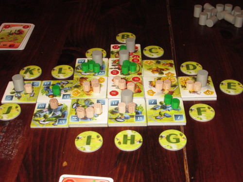 The city of Ginkgopolis midgame in a solo game.