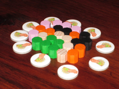 The wooden pieces in Ginkgopolis. Odd playing colors, but at least there's green.