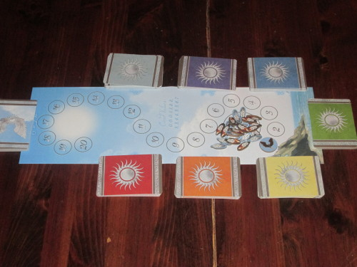 A game of Icarus set up. (Note that the Flight cards are only used in a variant.)