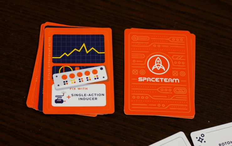 Malfunction deck on the left, completed repairs on the right. It's pretty easy to spot the Systems Go card in there.